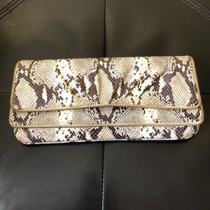 LAUREN MERKIN Clutch Purse PYTHON HTF!! Zipper acc